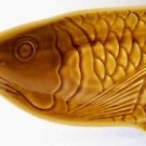 "CERAMIC Fish Shaped PLATE Asian Brown Serving Platter Dish 16.3"" x7.5"" x2.3"" NEW"