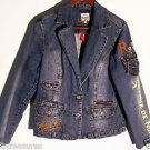 Request DENIM JEAN JACKET Blue 5 POCKET Buttons Girls Size XL or Women's Size XS