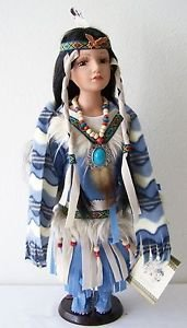 "16"" Porcelain DOLL NATIVE AMERICAN GIRL Blue Cream Red Outfit with SCARF & CoA"