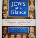 1956 JEWS AT A GLANCE Mac Davis 1st Edition 1st Printing Illustr. Nisenson w/ DJ