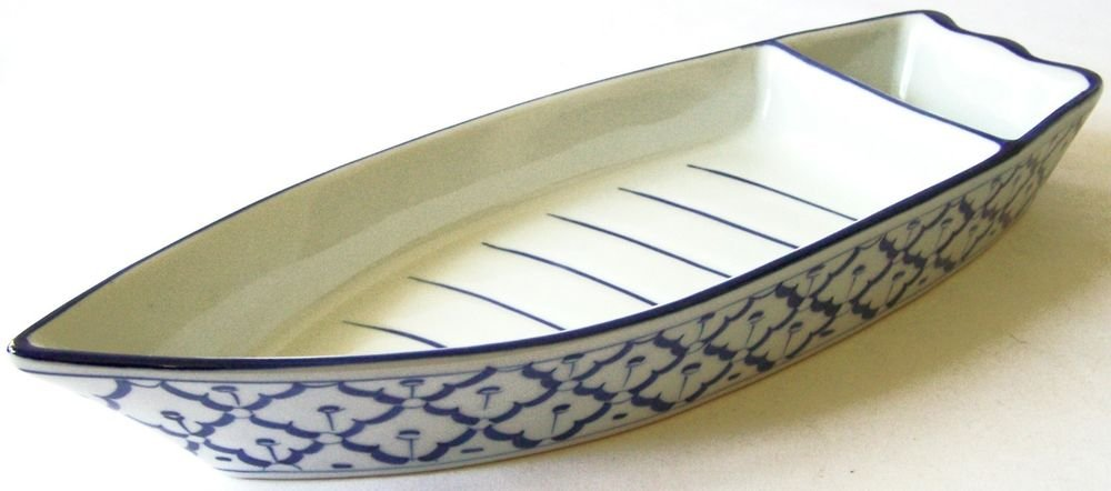"CERAMIC Boat Shaped PLATE #1 Thai Asian Blue White PLATTER 13"" x 4.8"" MICROWAVE"