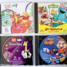 Lot 4 Children Kids CD SOFTWARE Sesame Street Art Workshop + Disney + Preschool