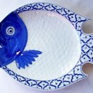 "CERAMIC Flounder Fish Shaped PLATE Thai Blue White PLATTER 11.75""x9"" MICROWAVE"