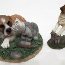 LOT 2 FIGURINES Cat Dog PUPPY & KITTY Kissing FIGURINE + UPRIGHT PUPPY Figurine