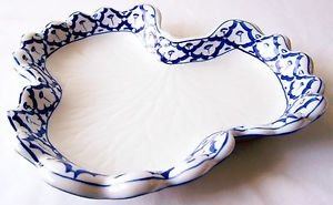"CERAMIC Gourd Leaf PLATE Asian Blue White Imported PLATTER 10.2""x9.7"" MICROWAVE"