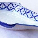 "CERAMIC Fish Shaped LONG PLATE x8 Thai Asian Blue Wht PLATTER 15.5""x7"" MICROWAVE"