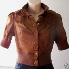 Girls Juniors PARIS BLUES Short Cropped JACKET Buttons METALLIC BROWN M Medium