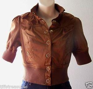 Girls Juniors PARIS BLUES Short Cropped JACKET Buttons METALLIC BROWN M Medium