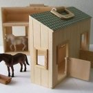 Melissa & Doug FOLD & GO WOOD HORSE STABLE SET Boys & Girls 2 Horses Feed Trough