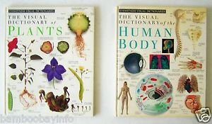 DK Eyewitness Visual Dictionaries PLANTS + THE HUMAN BODY 2 Book Lot Oversize HC