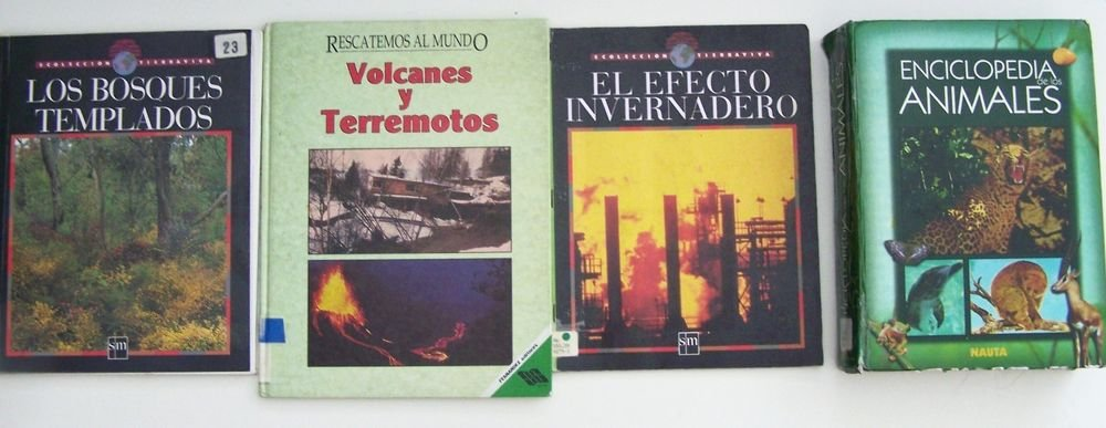 LOT 4 NONFICTION BOOKS printed in Spanish en ESPANOL 3HC+1SC VryGOOD Grade 6 7 8