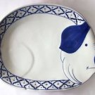 "CERAMIC Pig PLATE Thai Asian Blue & White PLATTER 12.8"" x 9.8"" x 1.65"" MICROWAVE"