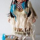 "16"" Porcelain DOLL NATIVE AMERICAN CHILD Beige Blue Brown Outfit DRUM Drumsticks"