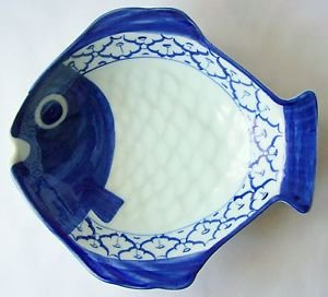 "CERAMIC Pompano Fish Shape PLATE Thai Asian Blue White PLATTER 9""x8.2"" MICROWAVE"