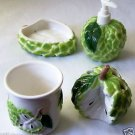 Tropical Fruit 4-pc BATH SET Custard Apple CUP Soapdish LOTION DISPENSER Toothbr