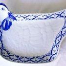 "CERAMIC Chicken PLATE Thai Asian Blue & White PLATTER 10.3"" x 7.5"" MICROWAVE"