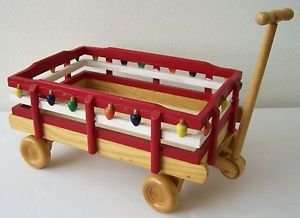 "WOODEN WAGON Red White WOOD Pull Toy Collectible Decor  12""Lx7.3""Wx5.5""H"
