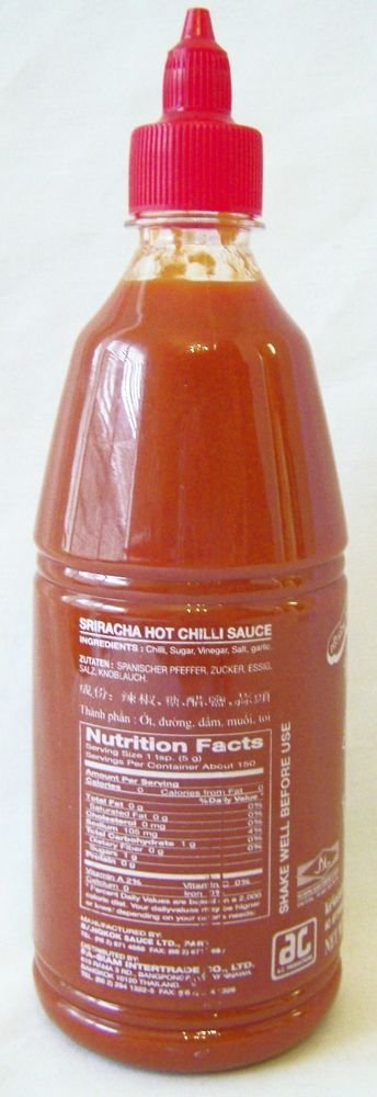 SRIRACHA SAUCE 12x30 oz Hot Chili NO Artificial Colors or Preservatives / NO MSG
