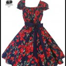 Women's Vintage 50's Style Navy Rose Print Swing Dress, Rockabilly, Wedding, Plus Size 2X 3X