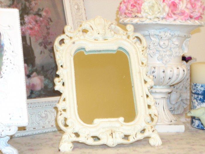 Shabby Vintage Chippy Cast Iron Mirror