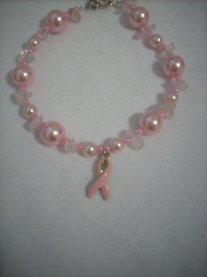 Handmade Pink Pearl and Rose Quartz Breast Cancer Awareness Bracelet
