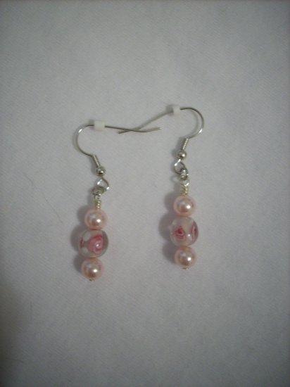 Pink Rosette and Pearl handmade Earrings