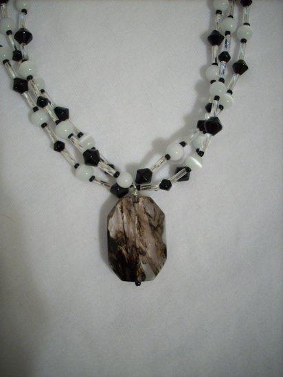 3 Strand Black Bicone and White Cat Eye Handmade Necklace