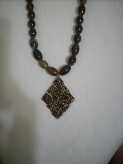 Bloodstone Bead Handmade Necklace and Metal Pendant