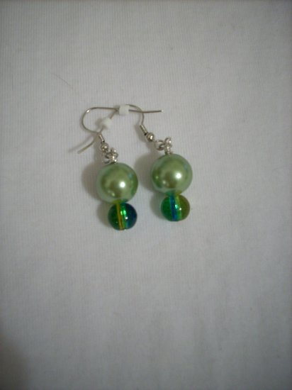 Handmade Mossy Green Pearl & Gold Green Earrings