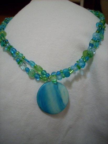 Handmade 2 Strand Green & Blue Necklace & Blue Pendant