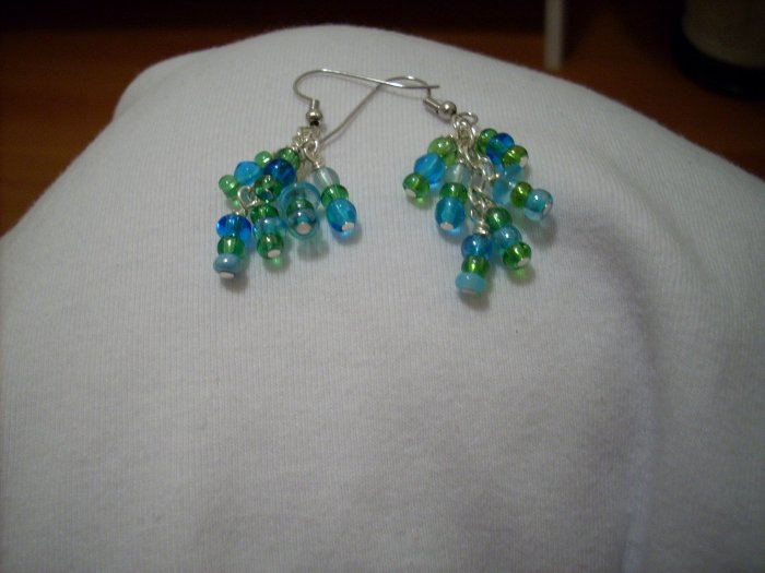 Handmade Green and Blue Mixed Glass Earrings