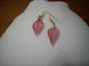Handmade Dark Pink Leaf Earrings