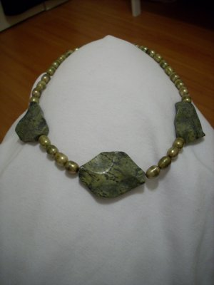 Large Mossy Green Gemstone Handmade Necklace