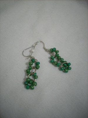 Green Seed Bead Large Jumpring Handmade Earrings