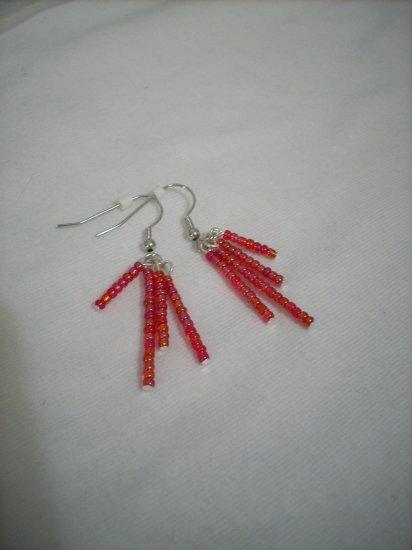 Red Seed Bead With Rainbow Finish Handmade Earrings
