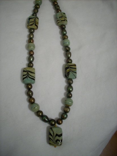 Handmade Green Gold Beads with Light Green & Dark Chocolate Swirl Beads Necklace