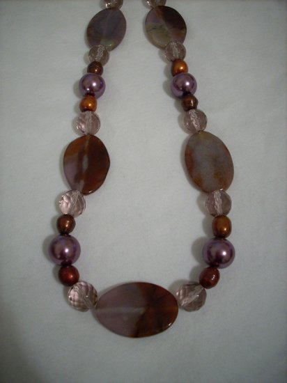 Amethyst, Pearl & Copper Handmade beaded Necklace