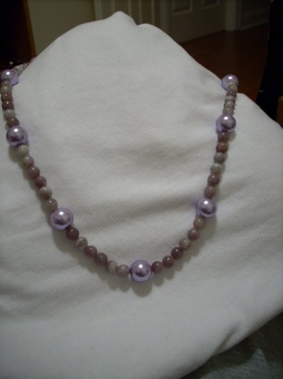 Large Lavender Pearl & Amethyst Handmade Necklace
