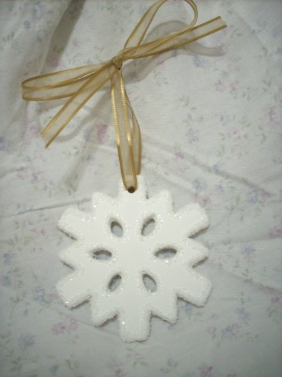 Hand Decorated White Sparkling Snowflake Christmas Tree Ornament