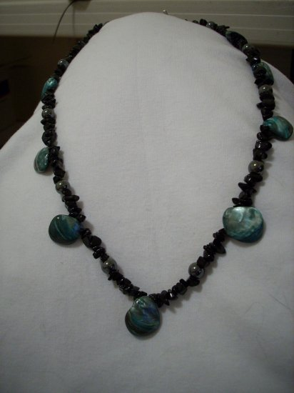 Black Sandstone, Hematite, & Blueish Gray Shell Handmade Necklace