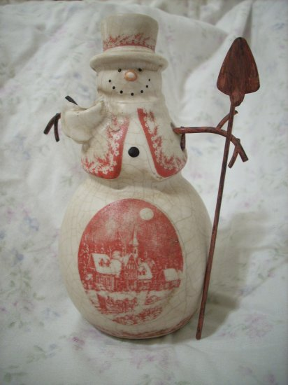 Porcelain Christmas Snowman Figurine with an Antique Red Winter Christmas Scene
