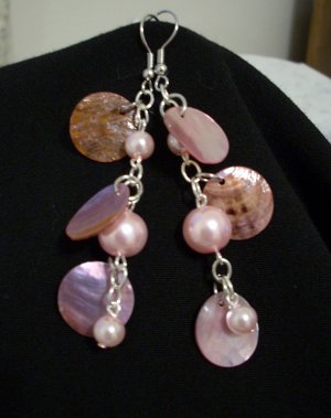 Pink Pearl and Pink Coin Shell Handmade Earrings
