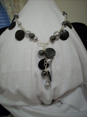 Handmade Silver Pearl, Hematite, and Black Coin Shell Necklace and Pendant