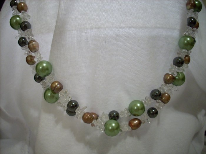 Double Strand Mossy Green Pearls, Hematite, Goldish Taupe Pearls, & Crystal Beaded Handmade Necklace
