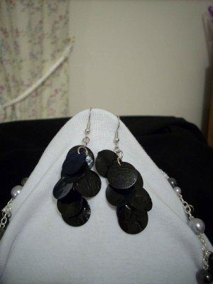 Handmade Black Coin Shell Dangle Earrings