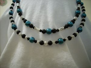 Set of 2 Rich Blue Pearl, Black Glass Bead, and Silver Beaded Handmade Necklaces