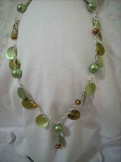 Green and Brownish Gold Pearl and Green Coin Shell Handcrafted Chain Necklace and Pendant