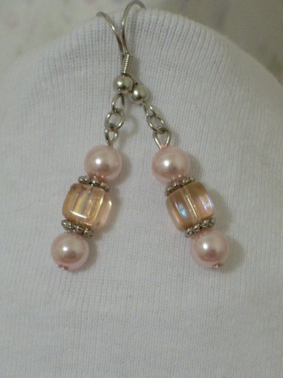 Pink Pearl and Czech Pink Crystal Beaded Handcrafted Earrings