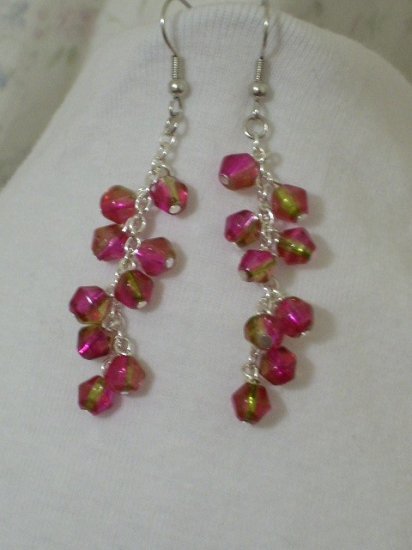 Pink and Gold Dangle Handmade Earrings