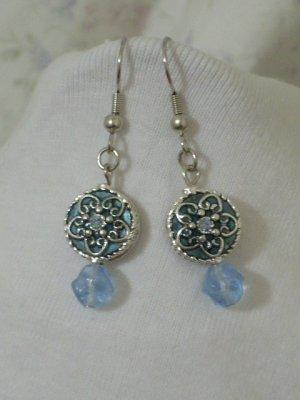 Light Blue Swarovski Crystal Handmade Earrings